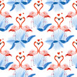 Seamless tropical pattern, Two flamingos in love and tropical palm leaves, plants, bird of paradise. Romantic Valentine's Day template. Pattern trend design. - 242481578