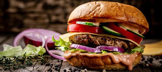hamburger with bacon and cheese. menu photo, copy space