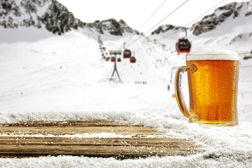 Winter time in Alps and beer  © magdal3na