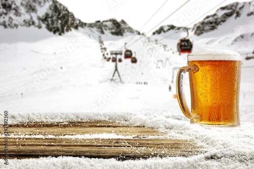 Winter time in Alps and beer
