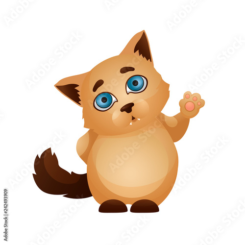Cartoon character pet. The cat emotion icon - 242493909