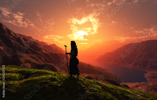Traveler on a background of mountains. - 242507512