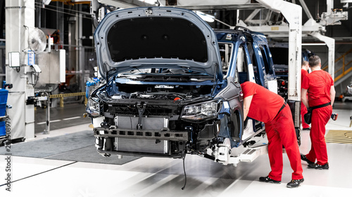 assembling a car - production of a vehicle