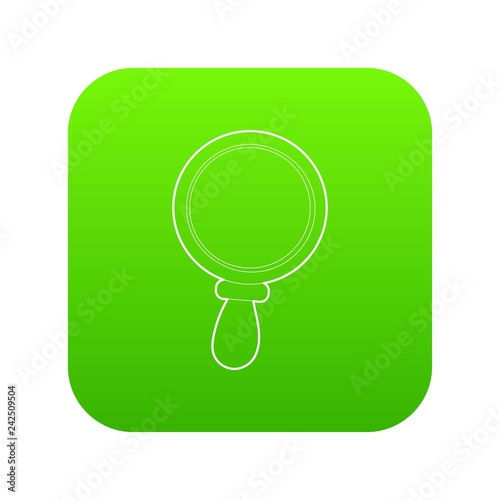 Magnifier icon green vector isolated on white background