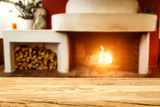Table background and fireplace  - 242512119