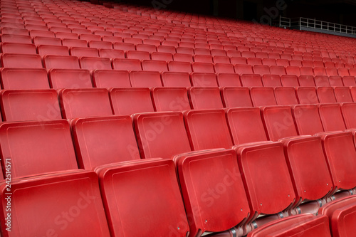 Red seat row in stadium