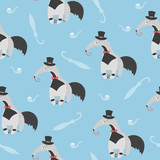 Seamless pattern with cute ant eater. Little gentleman vector illustration. - 242515925