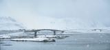 Snowfall on Lofoten islands, Norway
