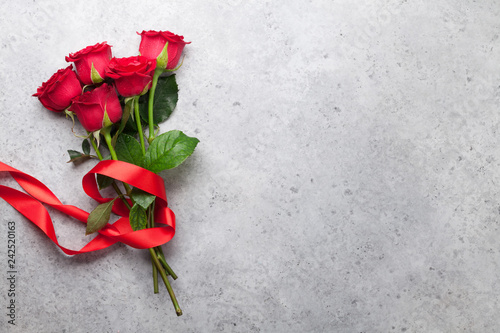 obraz PCV Red rose flowers bouquet