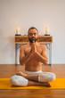 Yoga. Young man doing yoga exercise.