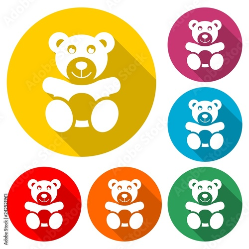 obraz PCV Cute smiling teddy bear icon or logo, color set with long shadow