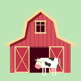 Red wooden farm barn in flat style with cow. Agricultural building for livestock or equipment. Vector illustration - 242522956