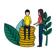 business couple with coins and plants