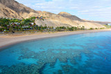 Mountain and coral reef in the Red sea, Israel, Eilat. Panoramic landscape view