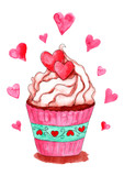 Watercolor cupcake with hearts isolated on white background. Hand drawn illustration - 242525115