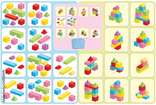 Buildings and block game for kids