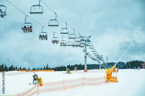 obraz PCV ski lift close up sky on background