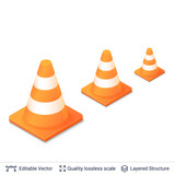 Set of 3d traffic cones isolated on white. - 242529350