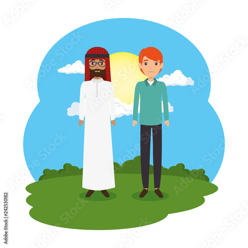 arabian couple in the landscape