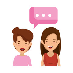 couple of girls with speech bubble