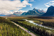 Aerial View of the Canadian Rockies and Icefields Parkway at Banff National Park in Alberta, Canada.