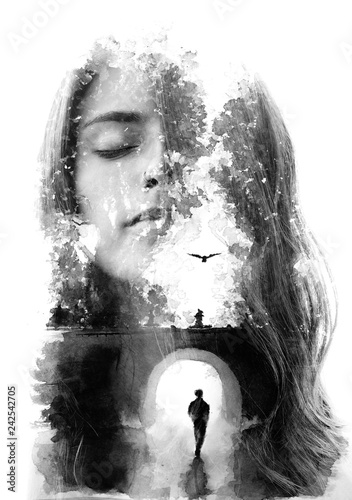 Leinwandbild Motiv Paintography. Double exposure portrait combined with hand drawn painting tells a story of two people using symbols and unique technique