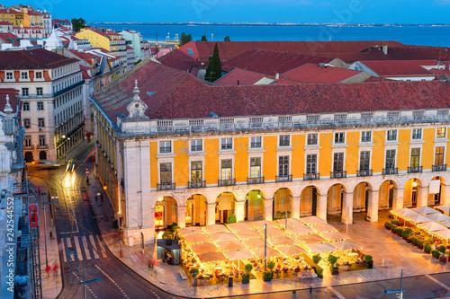 illuminated restaurant at Lisbon square