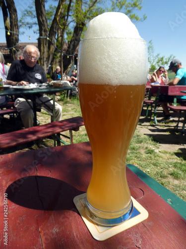 canvas print picture Weißbier auf dem Bierkelle in Franken