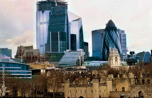 Modern skyscrapers near old historic buildings in London