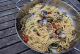 Spaghetti Vongole in der Pfanne