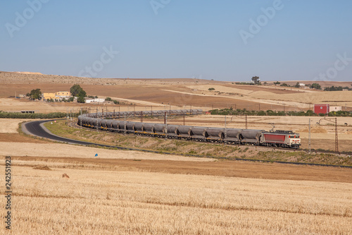Freight train in the hills