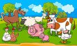 farm animals cartoon illustration - 242552520