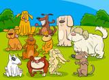 dogs group cartoon illustration