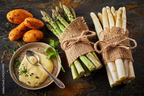 Foto Murales Asparagus, sweet potatoes and mayonnaise