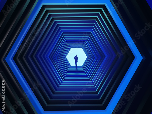 man at the end of the hexagonal tunnel