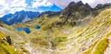Panoramic view of Tatra mountains and Zabie lakes (Slovak: Zabie plesa, Zabie Stawy Mieguszowieckie). Hiking to mt.Rysy (2503m) in High Tatras Mountains (Vysoke Tatry), Slovakia