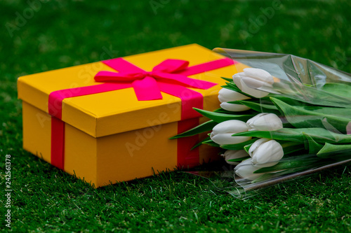 Beautiful yellow gift box with pink bow and tulips on green grass lawn