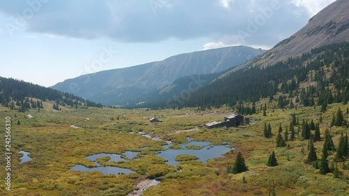 Aerial views of Mosquito Pass in Colorado showing fall colors on large meadows with touches of water and snow