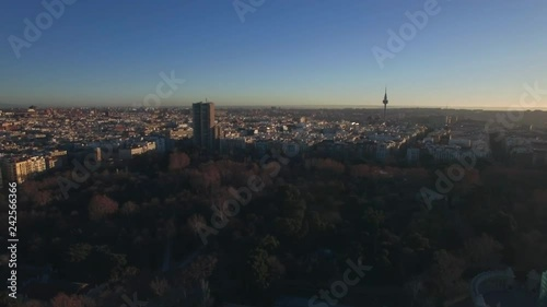 Aerial scene of Madrid, Spain in winter morning. City view with Buen Retiro Park, city buildings and Torrespana
