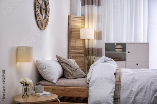 Leinwanddruck Bild Modern teenager room interior with comfortable bed