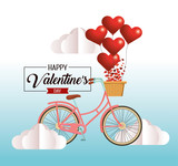 bicycle with hearts decoration to valentine celebration - 242573171