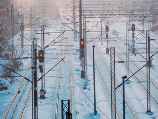 Train tracks, train lights in winter time