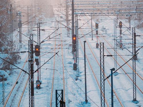 Foto Murales Train tracks, train lights in winter time