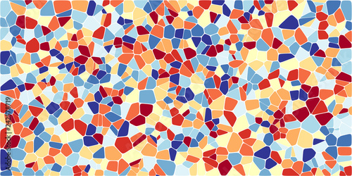 Stained glass colorful voronoi with fillet, vector abstract. Irregular cells background pattern. 2D Geometric shapes grid. Aspect Ratio 2:1 - 242578719