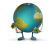 earth figure mascot holding palm with beach chairs and mountain landscape 3d-illustration. elements of this image furnished by NASA