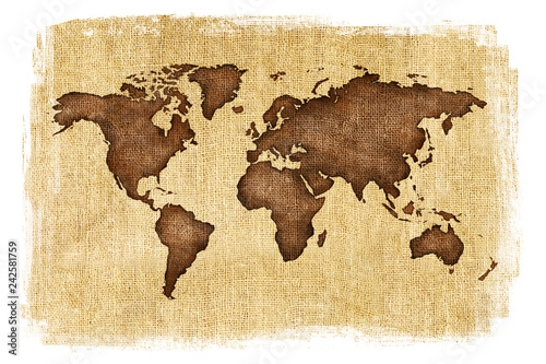 Textured illustration of map of the world with burlap linen background. White edges. Vintage style with stained edges. © CaptureAndCompose