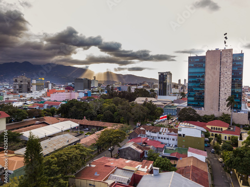 Obraz na płótnie Beautiful aerial view of a sunset in the city of San Jose Costa Rica