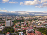 Beautiful aerial view of a sunset in the city of San Jose Costa Rica