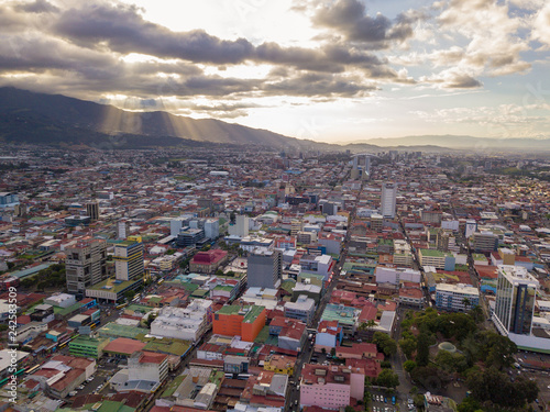 Foto Murales Beautiful aerial view of a sunset in the city of San Jose Costa Rica