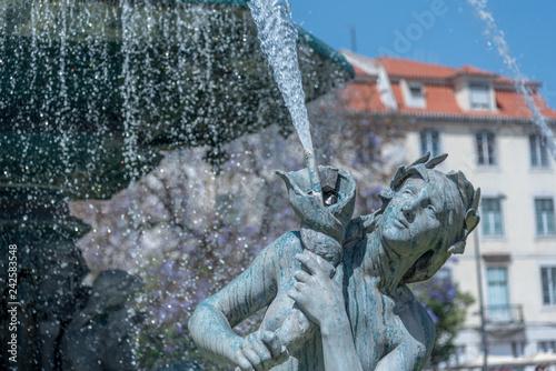 Rossio Square Fountain Isolated Figure